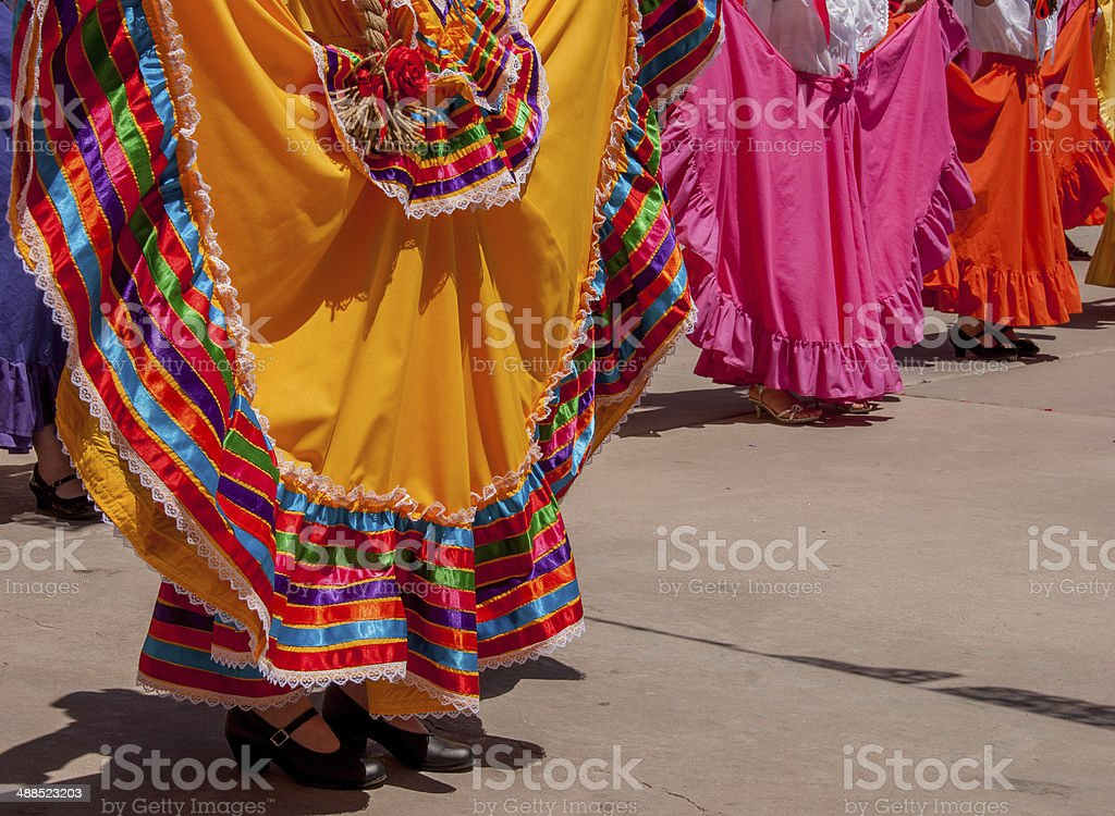 Colorful Skirts in Mexican Folk Dancing stock photo