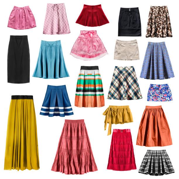 bunte röcke isoliert - lange gestreifte röcke stock-fotos und bilder