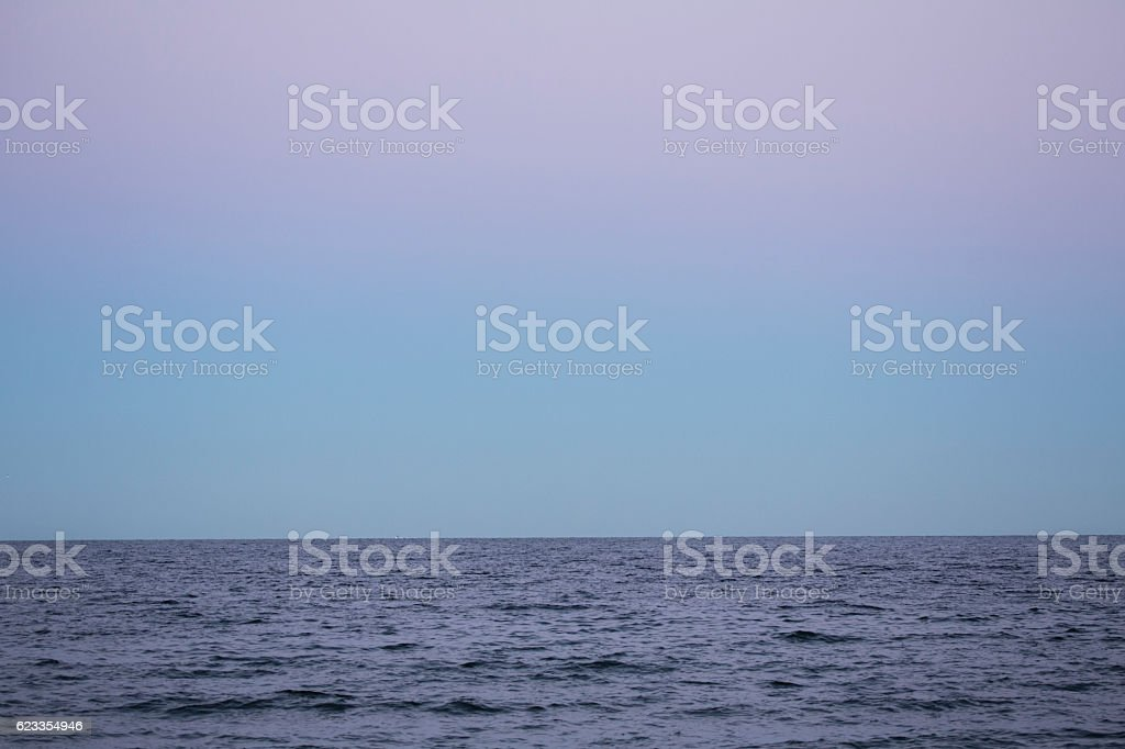 Colorful sky after sunset at Milford Point, Connecticut. stock photo