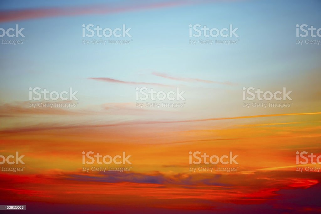 Colorful sky at sunset stock photo