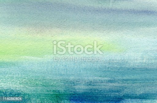 istock Colorful sky blue  and watercolor textures on white paper background. Ice and sea.Hand painted abstract  Illustration 1140392824