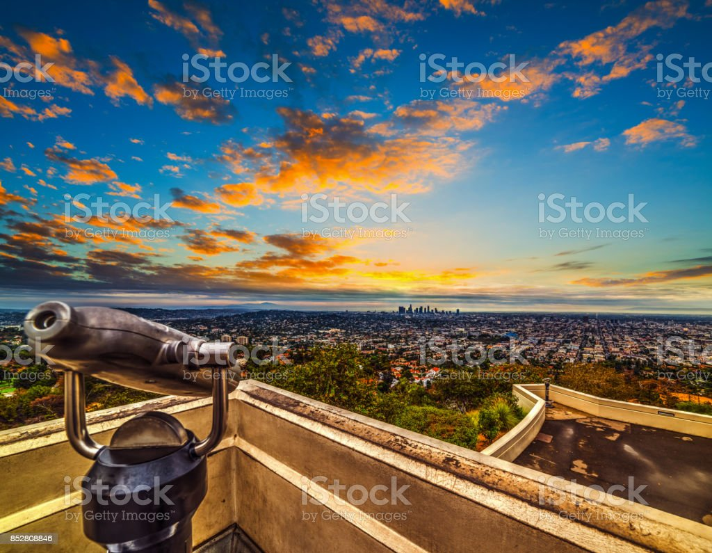 Colorful sky over Los Angeles at sunset stock photo
