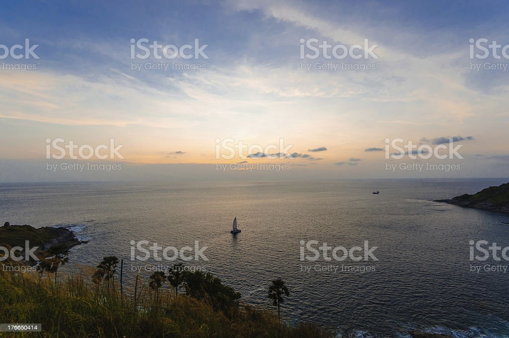 Colorful sky over the sea at laem phromthep royalty-free stock photo