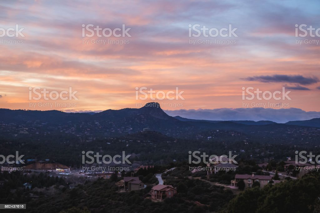 Colorful Sky Over Thumb Butte stock photo