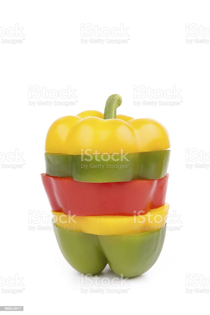 Colorful sliced Bell Pepper royalty-free stock photo