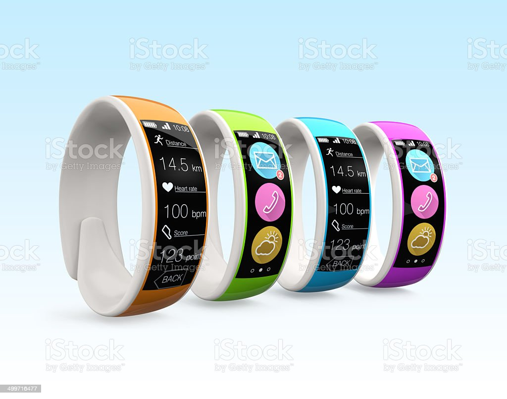 Colorful smart wristbands with Clipping path Colorful smart wristbands with Clipping path. Original design. Advice Stock Photo