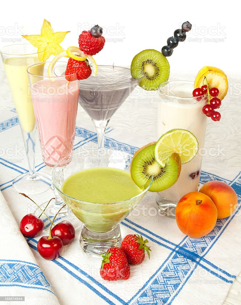 Colorful smoothie drinks royalty-free stock photo