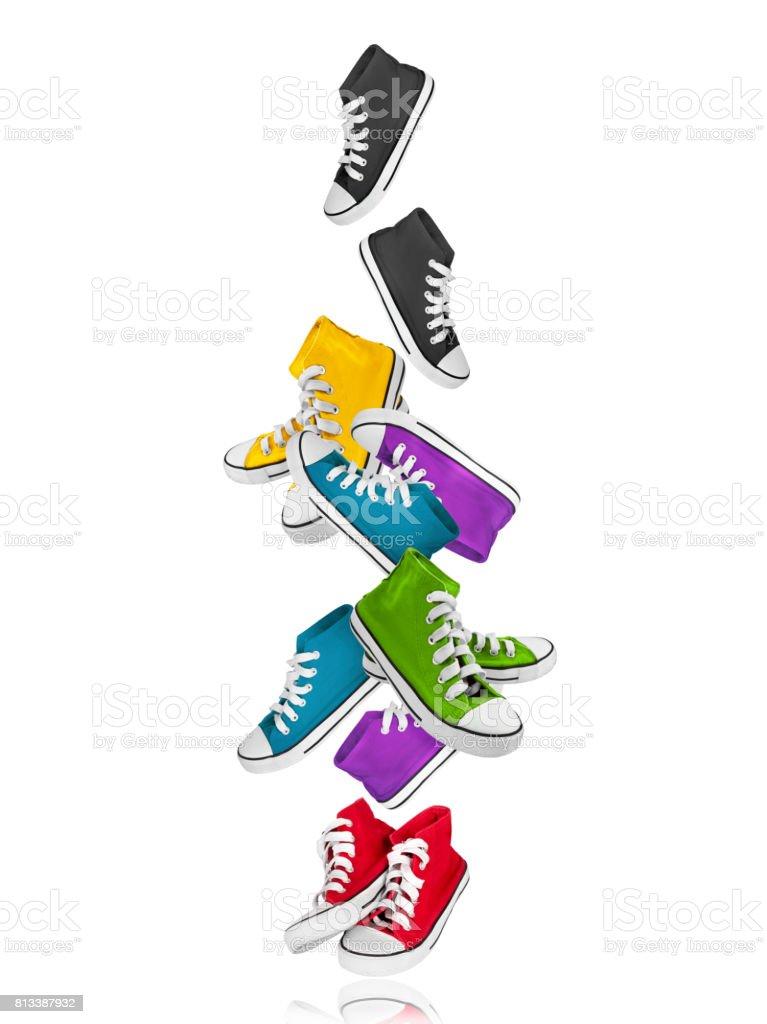 Zapatillas De Deporte Coloridas Congelados En El Aire