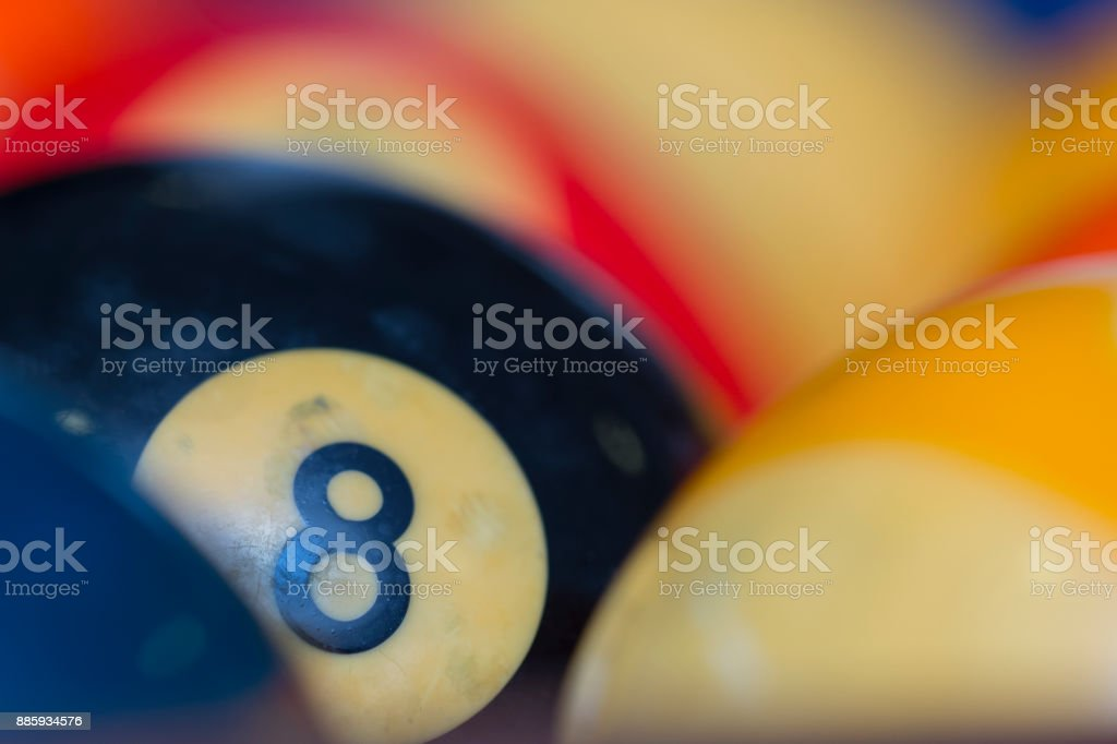 Colorful snooker balls on table stock photo