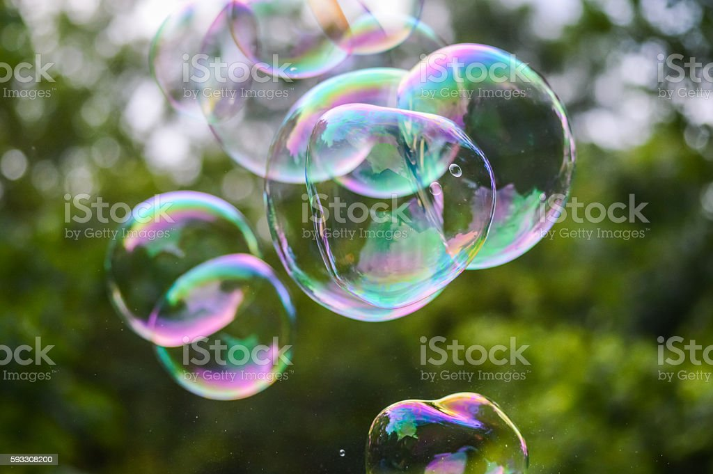 colorful soap bubbles close up - foto de stock