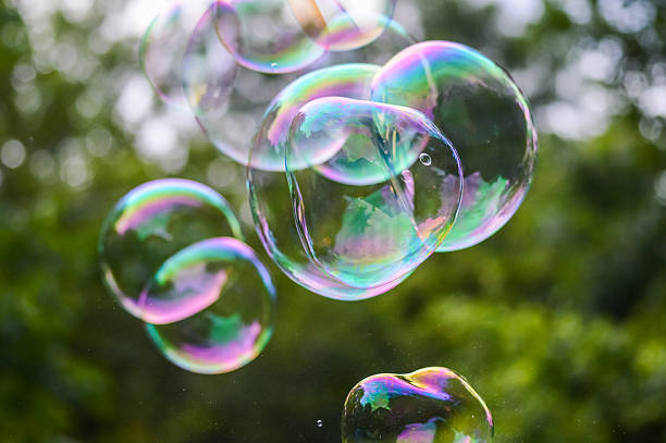 colorful soap bubbles close up stock photo