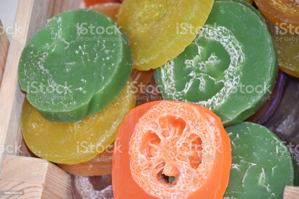 Colorful soap in the form of fruit stock photo