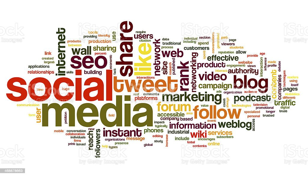 Colorful social media concept in a word tag cloud  Social media concept in word tag cloud on white background Blogging Stock Photo