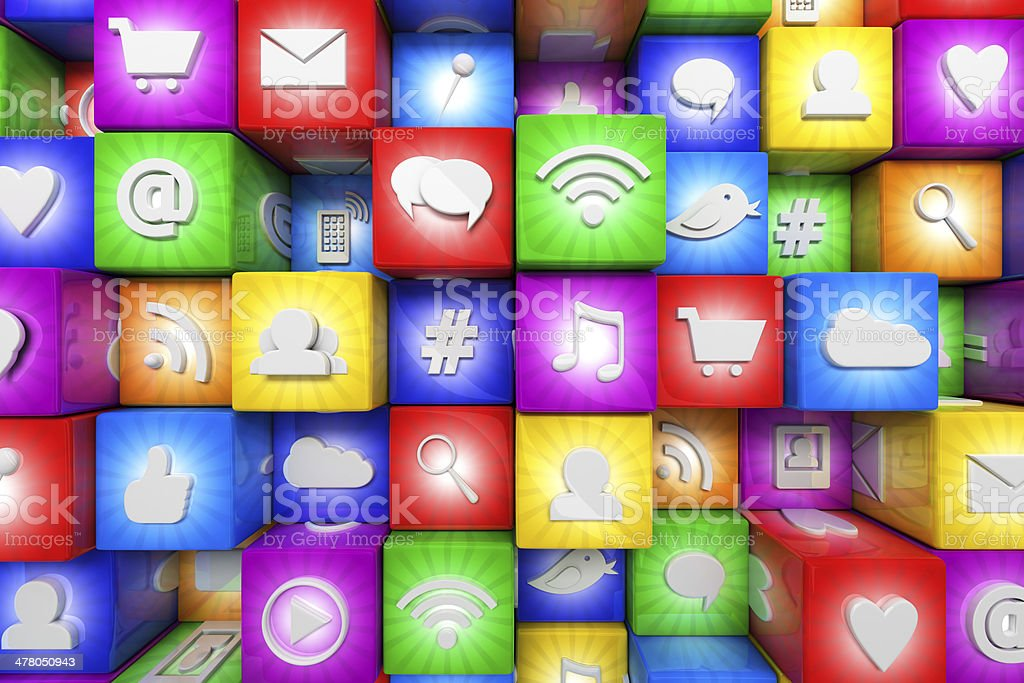 Colorful social media icons stock photo