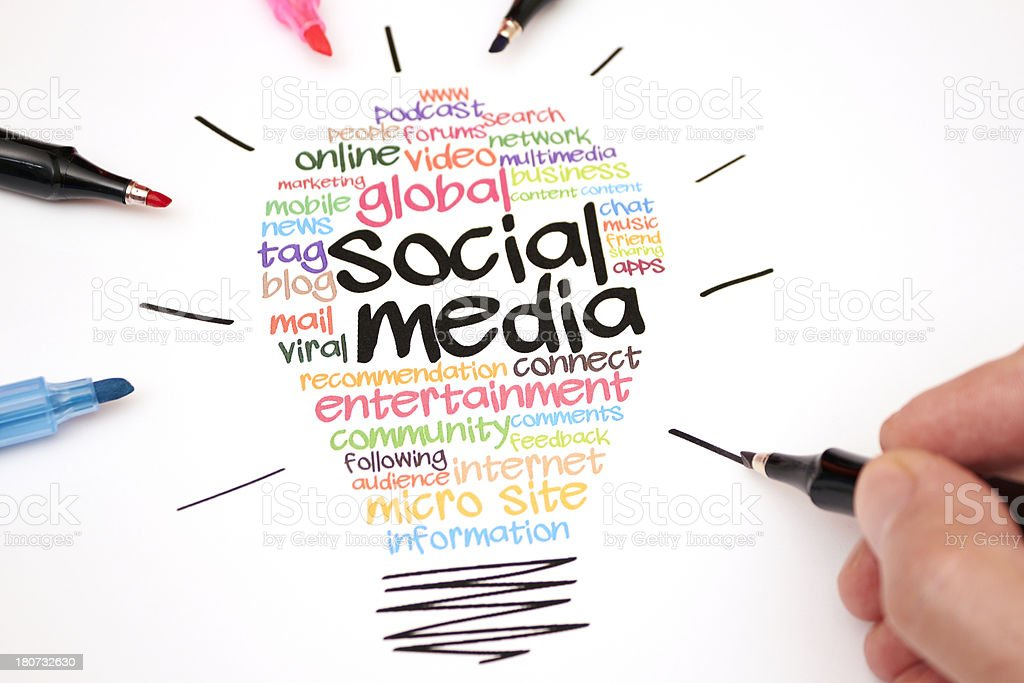 Colorful social media light bulb with markers royalty-free stock photo