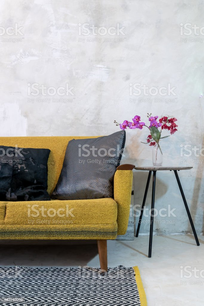 Stupendous Colorful Sofa In Modern Rustic Living Room Stock Photo Theyellowbook Wood Chair Design Ideas Theyellowbookinfo