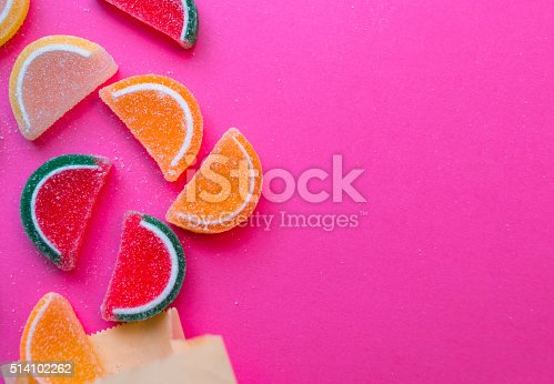 Colorful candies on pink background with copy space for your text here.