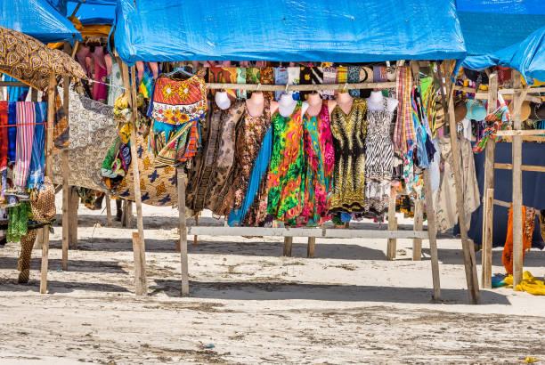Colorful souvenirs on Diani beach, Kenya stock photo