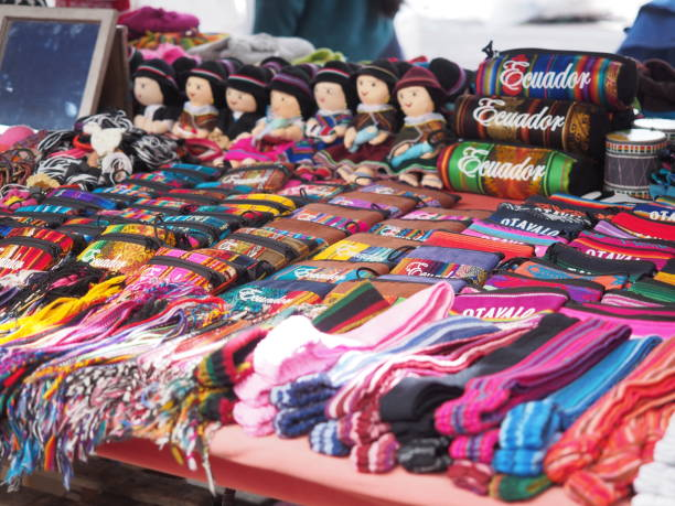 Colorful souvenirs textile at Otavalo market (Ecuador) stock photo