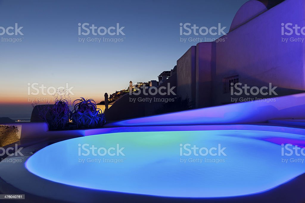 Colorful  spa in Santorini island. royalty-free stock photo