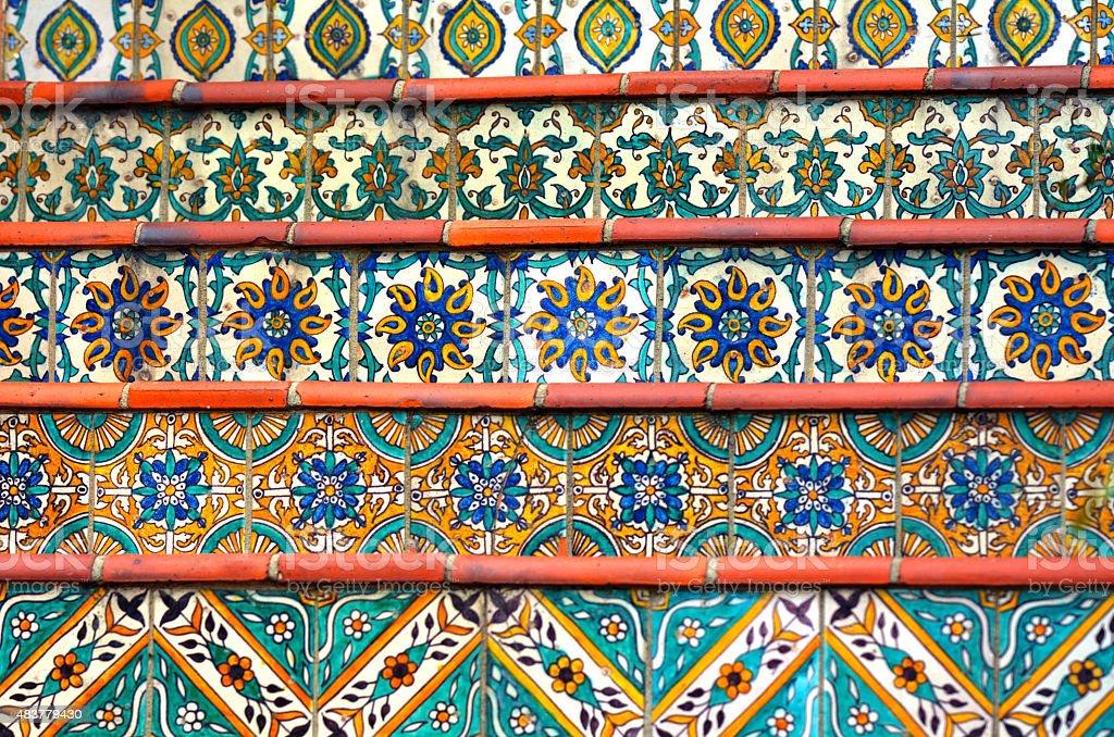Bunte Spanischen Fliesen Dekoration Auf Die Treppe Lizenzfreies Stock Foto