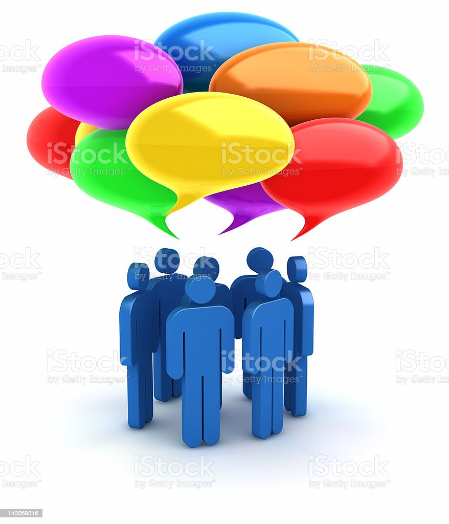 Colorful speech bubbles and talking people. stock photo