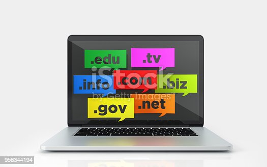 Colorful speech bubbles with domain extensions on a laptop screen on white background. Horizontal composition with copy space.