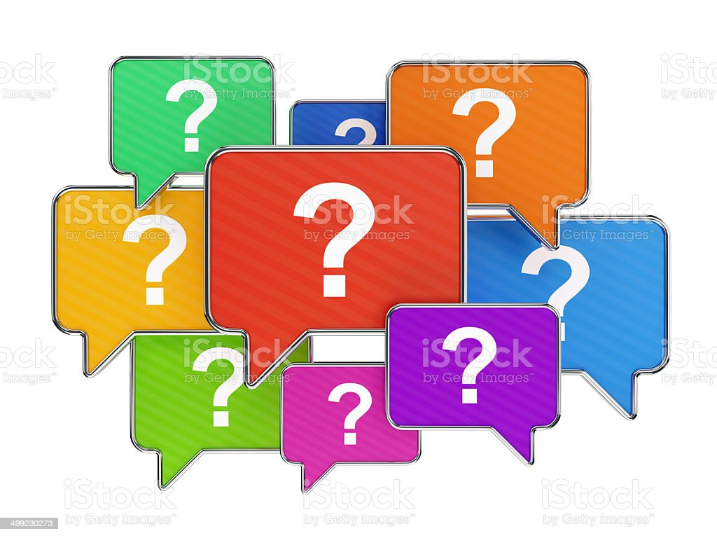 Colorful speech bubbles with question mark symbols royalty-free stock photo