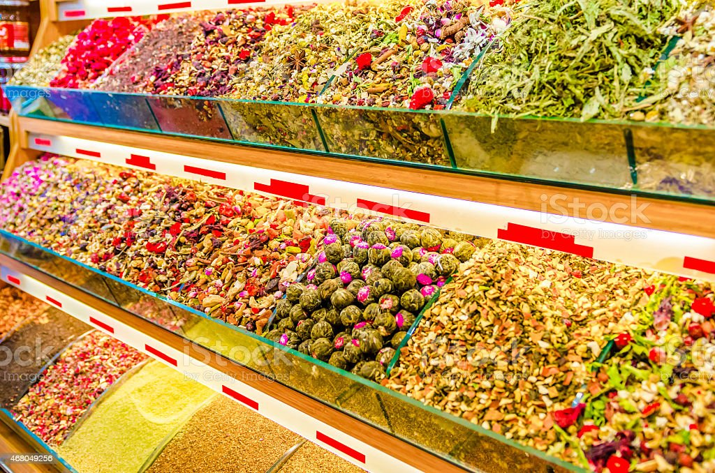 colorful Spice Bazaar stand, Istanbul stock photo