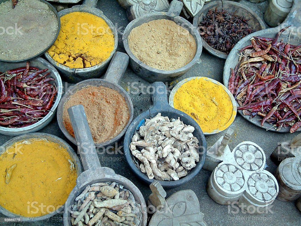 Colorful spices on a market place in Rajastha,India royalty-free stock photo