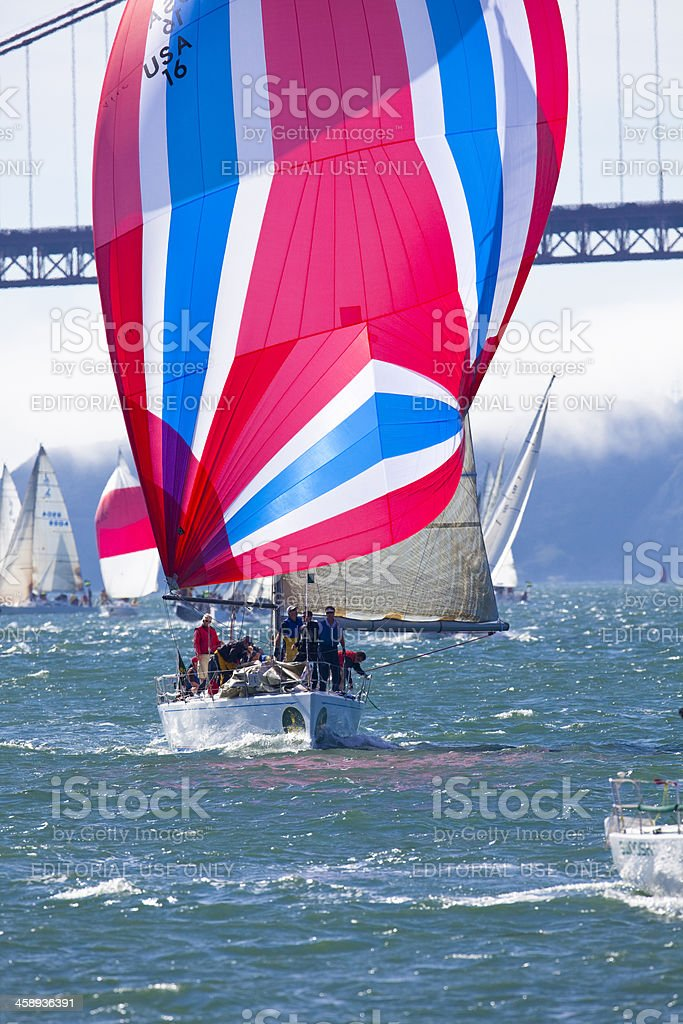Colorful Spinnaker on a J105 Sailboat royalty-free stock photo