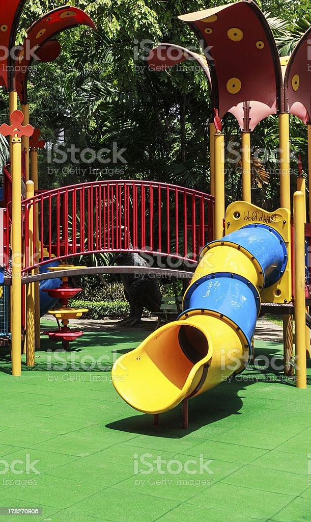 Colorful Spiral Tube Slide with Green Elastic Rubber Floor for...