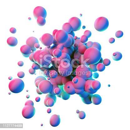 istock Colorful splash shapes isolated on white background 1127774459