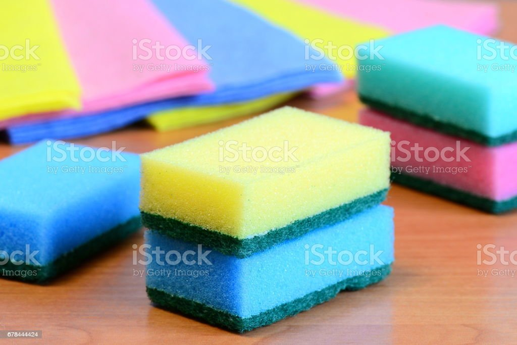 Colorful sponge and rags for cleaning ware and house cleaning royalty-free stock photo
