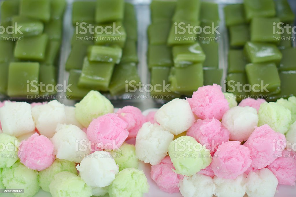 Colorful sponge cake and layer sweet cake (Kanom Chan) royalty-free stock photo