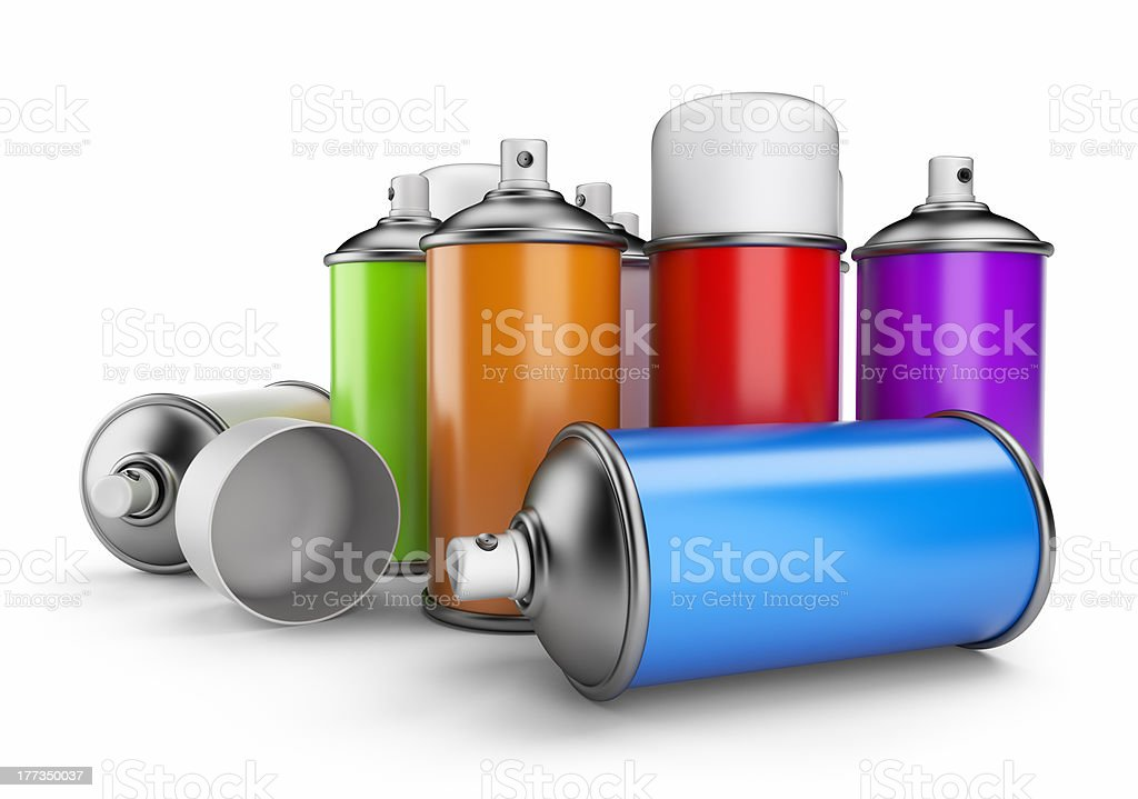 Colorful spray cans. 3D icon isolated stock photo