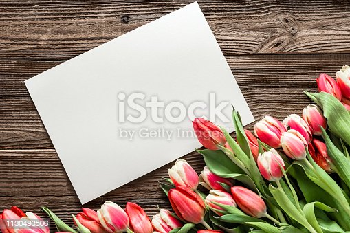 680461500istockphoto Colorful spring tulip. Background with mothers day flowers and greeting card with blank space for text. 1130493506