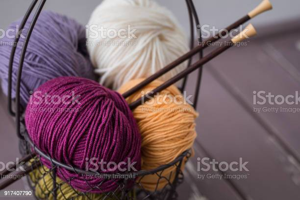 Colorful spring wool yarn in an iron basket with wooden knitting picture id917407790?b=1&k=6&m=917407790&s=612x612&h=kf7qhtjrwxqzonn vi6iai0yqtyekjgofklhamhicmg=