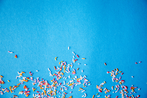 istock Colorful sprinkle texture background, blue, with copy space 1156678741