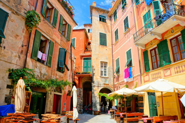Colorful square in the Cinque Terre village of Monterosso, Italy stock photo