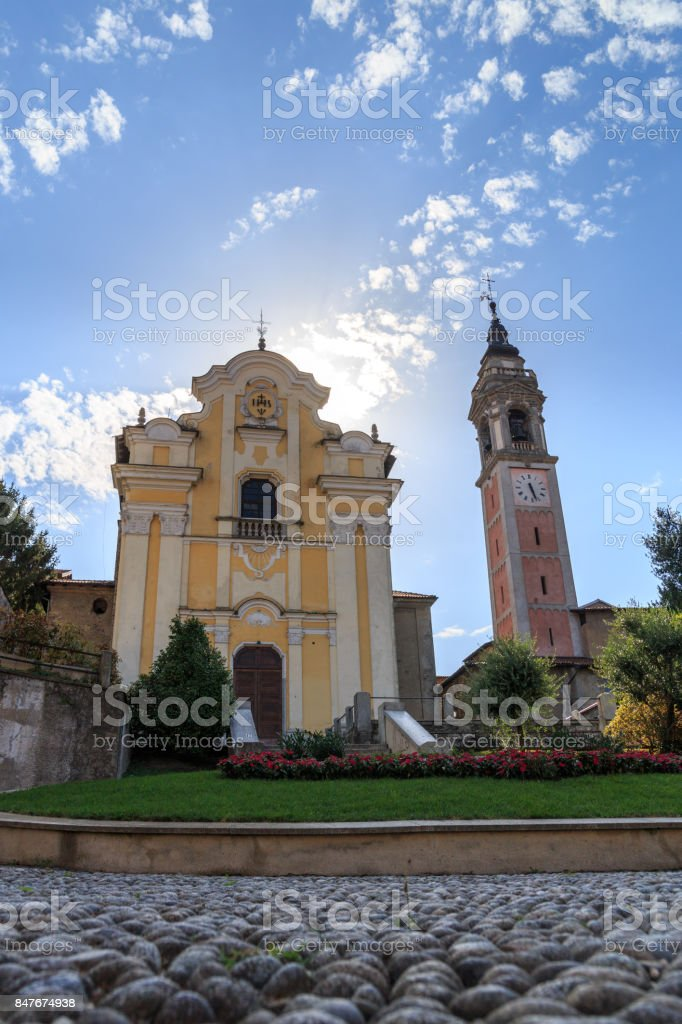 colorful square with church in the city of Arona stock photo