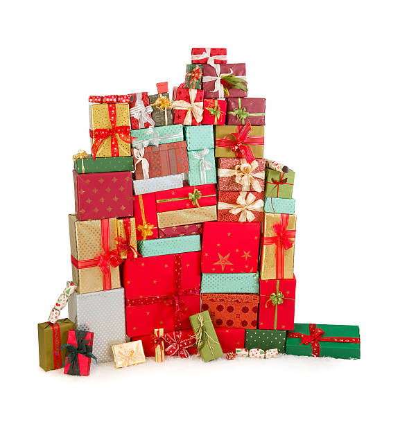 Colorful stack of christmas presents stock photo