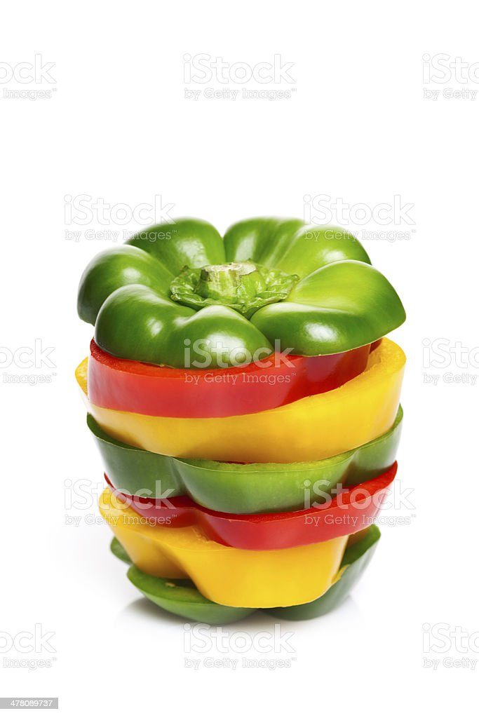 Colorful Stacked Pepper Slices royalty-free stock photo
