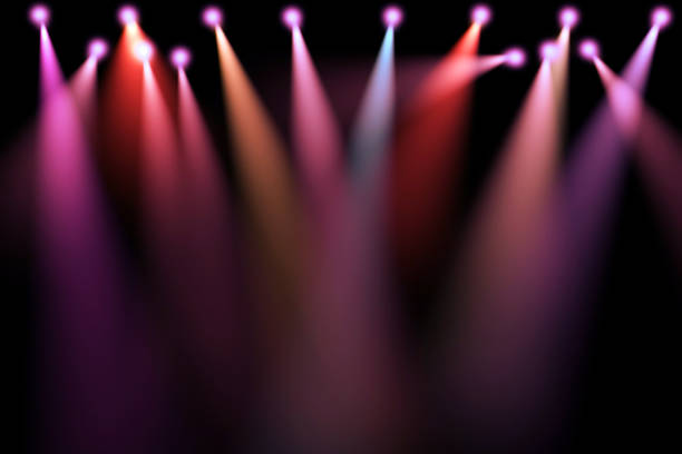 colorful stage lights, projectors in the dark, purple,red,blue soft light spotlight strike - stage light stock pictures, royalty-free photos & images