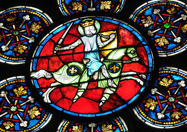 colorful stained glass art of louis ix of france - the crusades stock photos and pictures