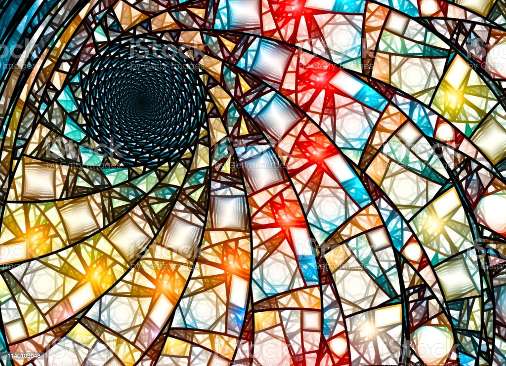 Colorful Stained Glass Fractal In Golden Ratio Stock Photo