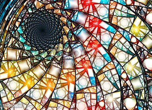 Colorful stained glass fractal in golden ratio, computer generated abstract background, 3D rendering