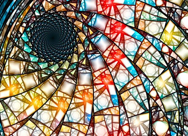 彩色彩色玻璃分形在金黃的比例 - 黃金比例 個照片及圖片檔