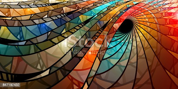 istock Colorful stained glass spiral 847192432