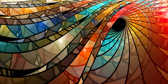 Colorful stained glass spiral, computer generated abstract background, 3D rendering